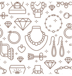 jewelry seamless pattern line vector image