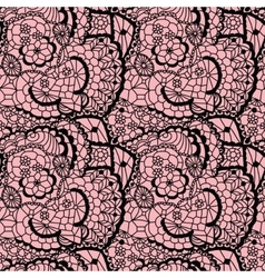 Lace black seamless mesh pattern vector