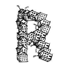 Letter r made from houses alphabet design vector