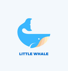 little whale abstract emblem label logo vector image
