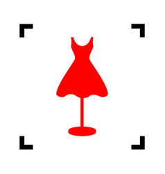 Mannequin with dress sign red icon inside vector
