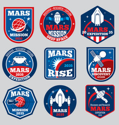 Mars mission space emblems astronaut vector