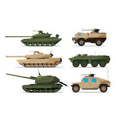 Military vehicle different artillery machines vector