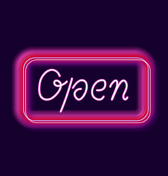 neon sign open vector image