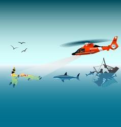 Rescuers in a helicopter vector image vector image