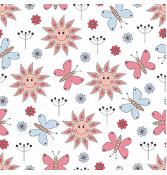 seamless pattern with cute elements vector image vector image