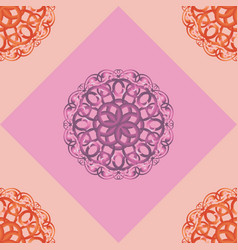 Seamless pattern with pink ornamental decor vector