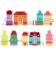 Set of cartoons fairy tale drawing houses isolated vector