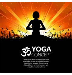 Silhouette of a Girl in Yoga pose vector image vector image