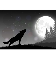 Silhouette of a wolf standing on a hill vector