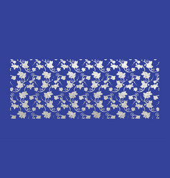 Silver foil ornamental boarder with rose vector