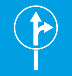 Straight or right turn ahead road sign icon white vector
