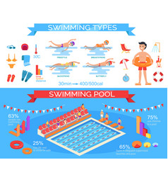 Swimming pool and styles infographic poster vector