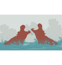 Two fighting hippos vector
