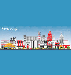 Varanasi skyline with color buildings and blue sky vector