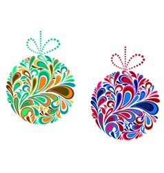 Holidays balls in floral style for christmas vector
