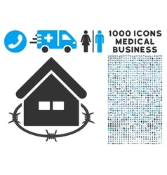 Prison building icon with 1000 medical business vector