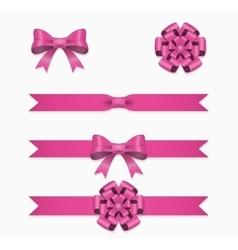 Pink ribbon and bow set for gift box vector image