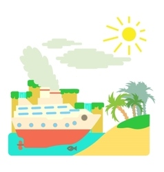 Ship in sea near island concept flat style vector