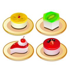 A set of desserts of jelly on plates vector