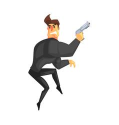 secret service male agent undercover tiptoeing vector image