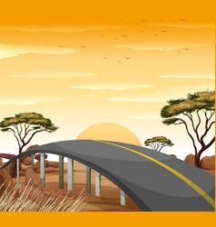 Road in the savanna field vector