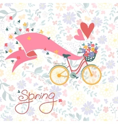Bicycle with a basket full of flowers vector