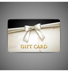 Gift card with white bow and ribbon vector