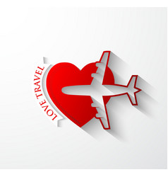 Red silhouette of jet airplane on heart shape vector