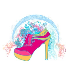 Shoe floral poster vector