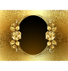 Oval banner with golden roses vector