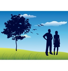 Silhouette of man and woman standing on summer vector