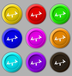 Swing icon sign symbol on nine round colourful vector