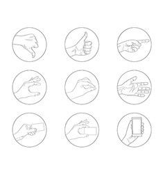 Business hand gestures contour icon vector