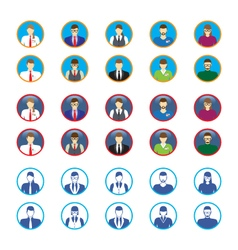 Male and female faces icons avatars vector