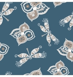Seamless pattern with dragonflies and flowers vector