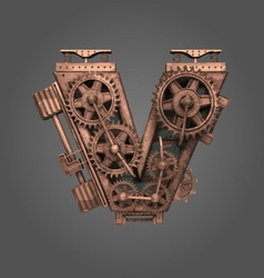 V rusted letter with gears vector