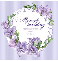 Wreath with freesia vector image