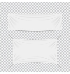 White textile banners with folds template set vector