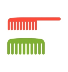 Two red and green comb icon barbershop flat vector