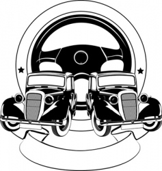 Old car emblem vector