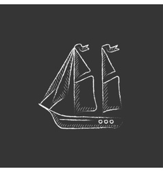 Sailboat drawn in chalk icon vector