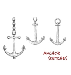 Retro sketches of navy heraldic anchors vector