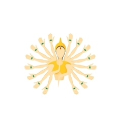 Multi armed buddha icon cartoon style vector