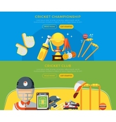 Cricket club and championship banners vector