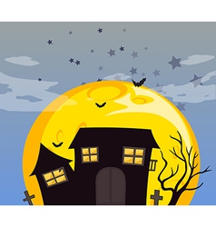 A haunted house and the bright full moon vector image vector image