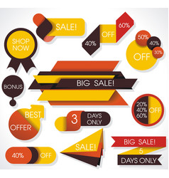 big sale labels and banners paper discounts with vector image