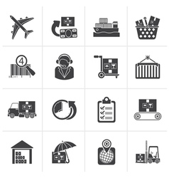 Black Cargo logistic and shipping icons vector image vector image