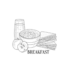 Breakfast with porridge sandwich and juice hand vector
