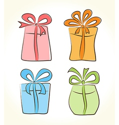 Cartoon gift boxes collection vector image vector image